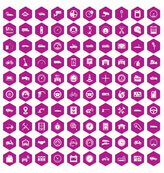 100 garage icons hexagon violet vector