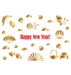 A new years card with japanese lucky charms vector