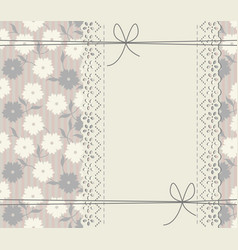 Abstract cover with lace frame decorative bows vector