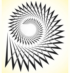 Abstract edgy spiral volute with triangular shapes vector