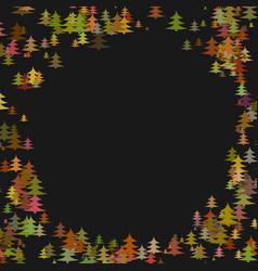 abstract random pine tree pattern round border vector image