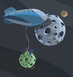 Airship space moon astronaut dark fantasy vector