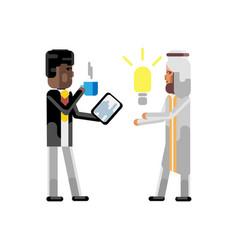 Arabic man holding idea light bulb vector
