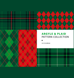 argyle and plaid pattern collection vector image