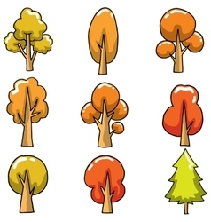 Autumn tree set on doodles vector