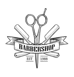 Barbershop logo with scissors vector