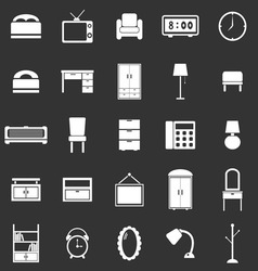 Bedroom icons on black background vector image