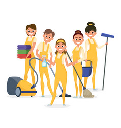 best cleaning staff characters isolated vector image