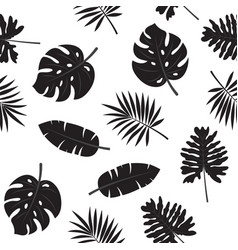 Black and white tropical leaves seamless pattern vector