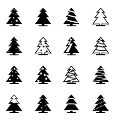 black christmas tree icon set vector image