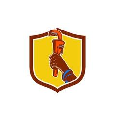 Black Plumber Hand Raising Monkey Wrench Crest vector image