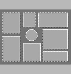 Blank poststamps set old postal perforated vector