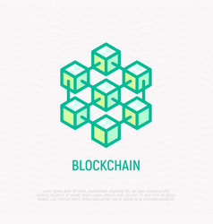 blockchain thin line icon vector image