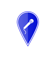 Blue map pointer with microphone vector