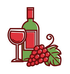 bottle of red wine full glass and grapes bunch vector image