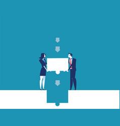Business team places final piece puzzle vector