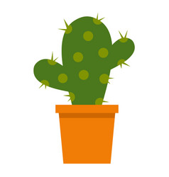 Cactus flower in pot icon isolated vector