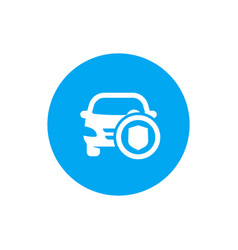 car and shield round icon vector image
