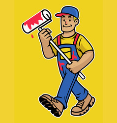 cartoon happy wall painter worker mascot vector image