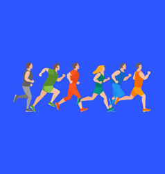 cartoon jogging characters people on a blue vector image