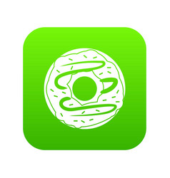 chocolate donut icon digital green vector image