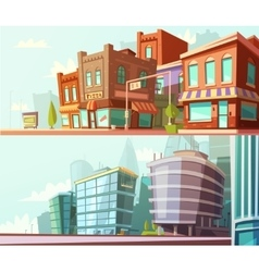 City Skyline 2 Horizontal Banners Set vector