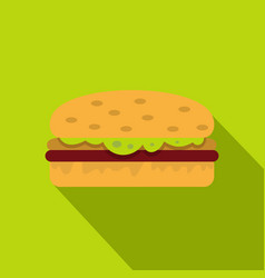Classic chicken burger icon flat style vector