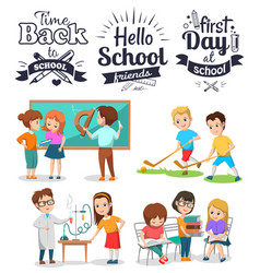 Classmates educating back to school study vector