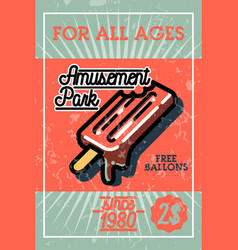 Color vintage amusement park banner vector