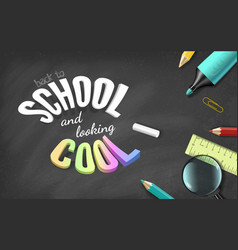 Colorful text and school supplies on black vector