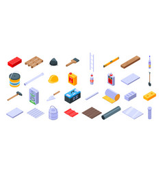 Construction materials icons set isometric style vector