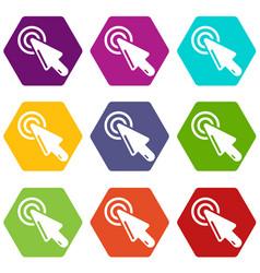Cursor clicking icons set 9 vector