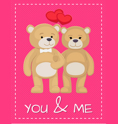 cute bear animals family male and female hold paws vector image