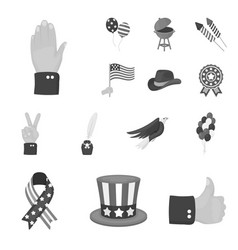 Day of patriot holiday monochrome icons in set vector