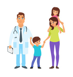 doctor with mother and children vector image