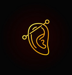 ear piercing thin line golden icon or outline vector image