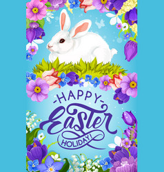 easter bunny and spring flowers religious holiday vector image