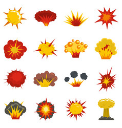 Explosion icons set in flat style vector