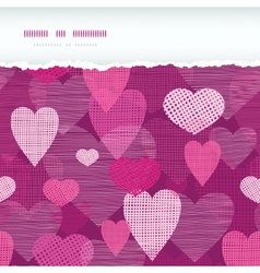 Fabric hearts romantic torn horizontal seamless vector image