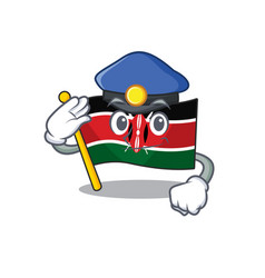 Flag kenya police cartoon with character happy vector