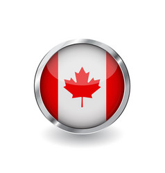 flag of canada button with metal frame and shadow vector image