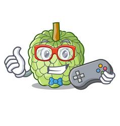 Gamer fresh custard apple sweet fruit cartoon vector
