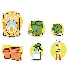 Gardening tools cartoon vector image