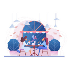 girls in cafe flat vector image