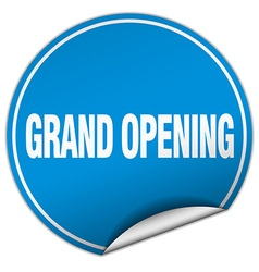 Grand opening round blue sticker isolated on white vector