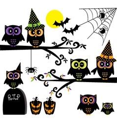 halloween owls collections happy element vector image