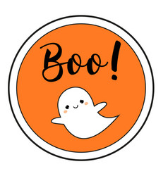 Halloween sticker with cute ghost and text boo vector