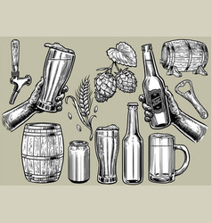 hand drawing beer objects in set vector image