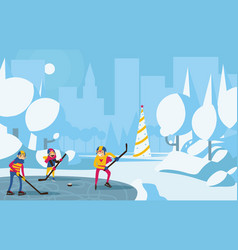 Happy family playing hockey in park in the city vector