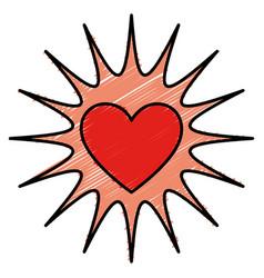 Heart love card with splash vector